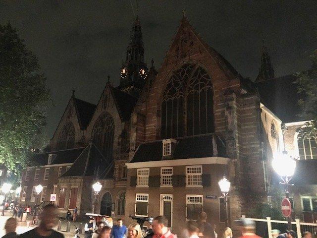 Old Church by night - overnight layover Amsterdam