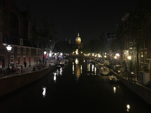 View from bridge at Old Church - overnight layover Amsterdam