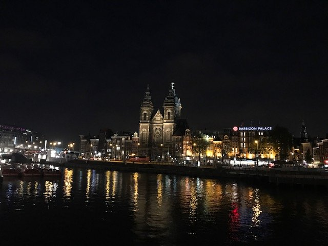 Sint Nicolaas Church, view from Amsterdam Central Station - overnight layover Amsterdam