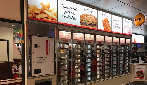 Traditional Snackbar Febo in Amsterdam. Faster than fast food
