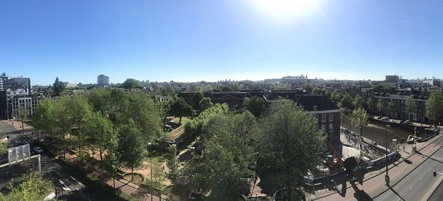 View over Amsterdam from the Weesperflat, a 7 story - Free things the Dutch love